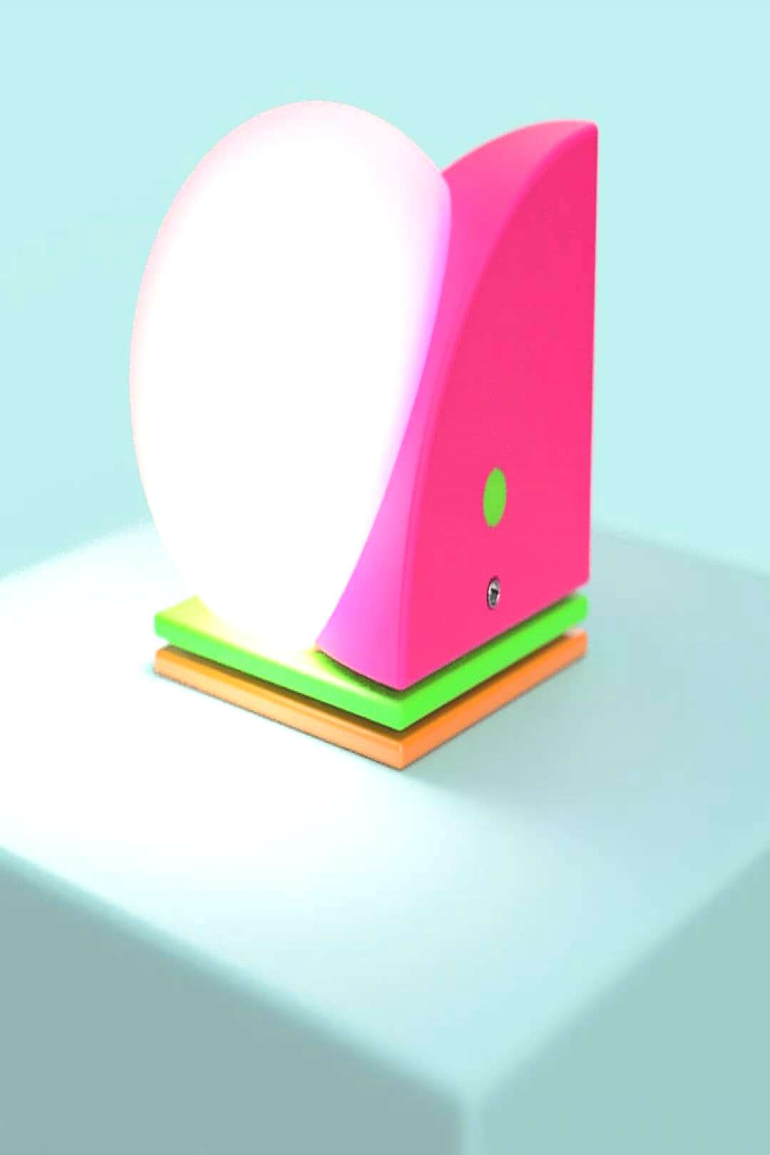 A colorfully lamp build out of basic geometry