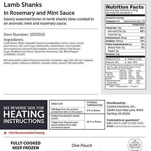 Cuisine Solutions - Fully Cooked Sous Vide - Lamb Shank